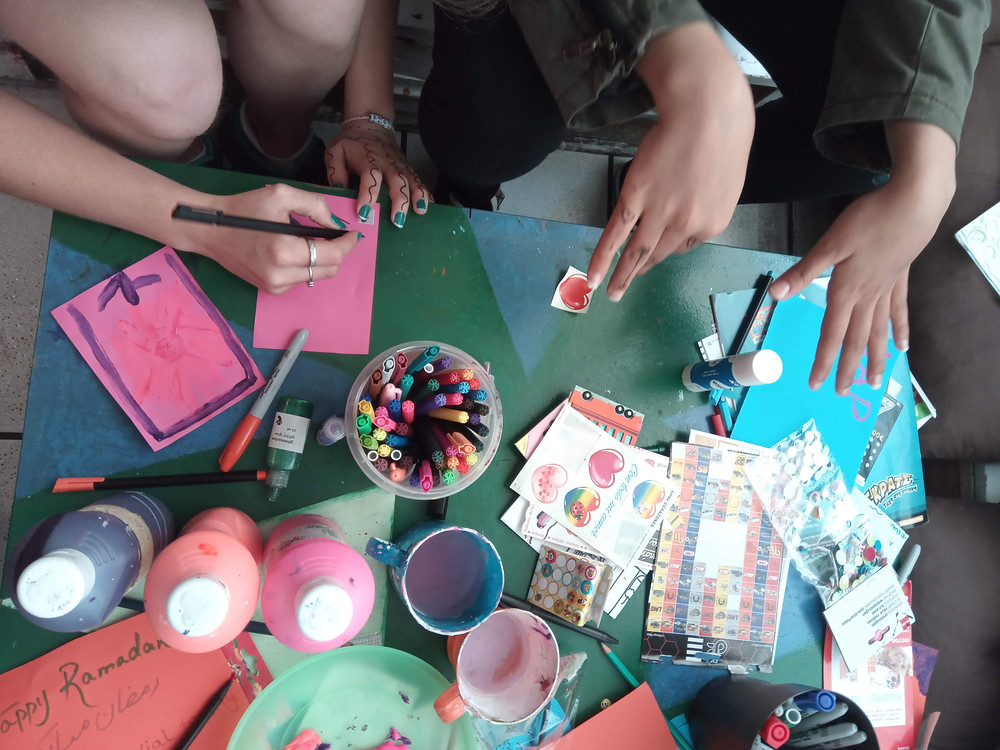 paint, markers, stickers, and all the things to make cards!