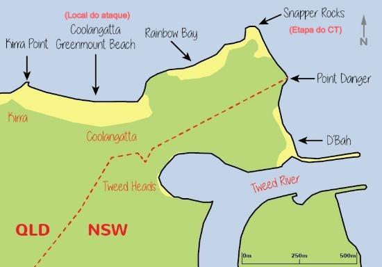 Ataque de tubarão em praia próxima ao local do CT na Austrália