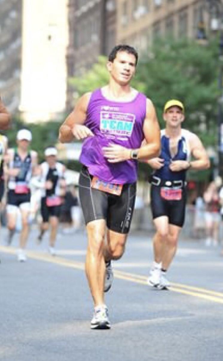 Polit running in the New York City Triathlon
