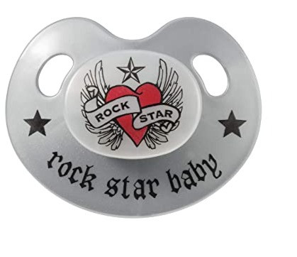 ROCK STAR BABY? by Tico Torres - world famous drummer and member of the Rockband Bon Jovi ? Rose Single orthodontic silicone pacifier with a classy ? SB Design ? and a travel cover each This pacifier is manufactured with ? BPA-free materials and are suitable for infants and babies aged 18 +months ? size 3 The pacifiers comply ? US standard and with the European Standard ? EN 1400 and are made of medical grade silicone This high quality baby product is ¯MADE IN GERMANYand a great gift for every girl or boy infant ? EVERY BABY IS A STAR ?