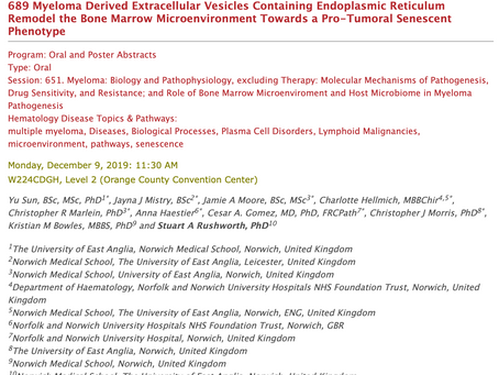 ASH 2019 - Come & hear Stuart talk about myeloma. Monday morning 11.30 (W224CDGH).
