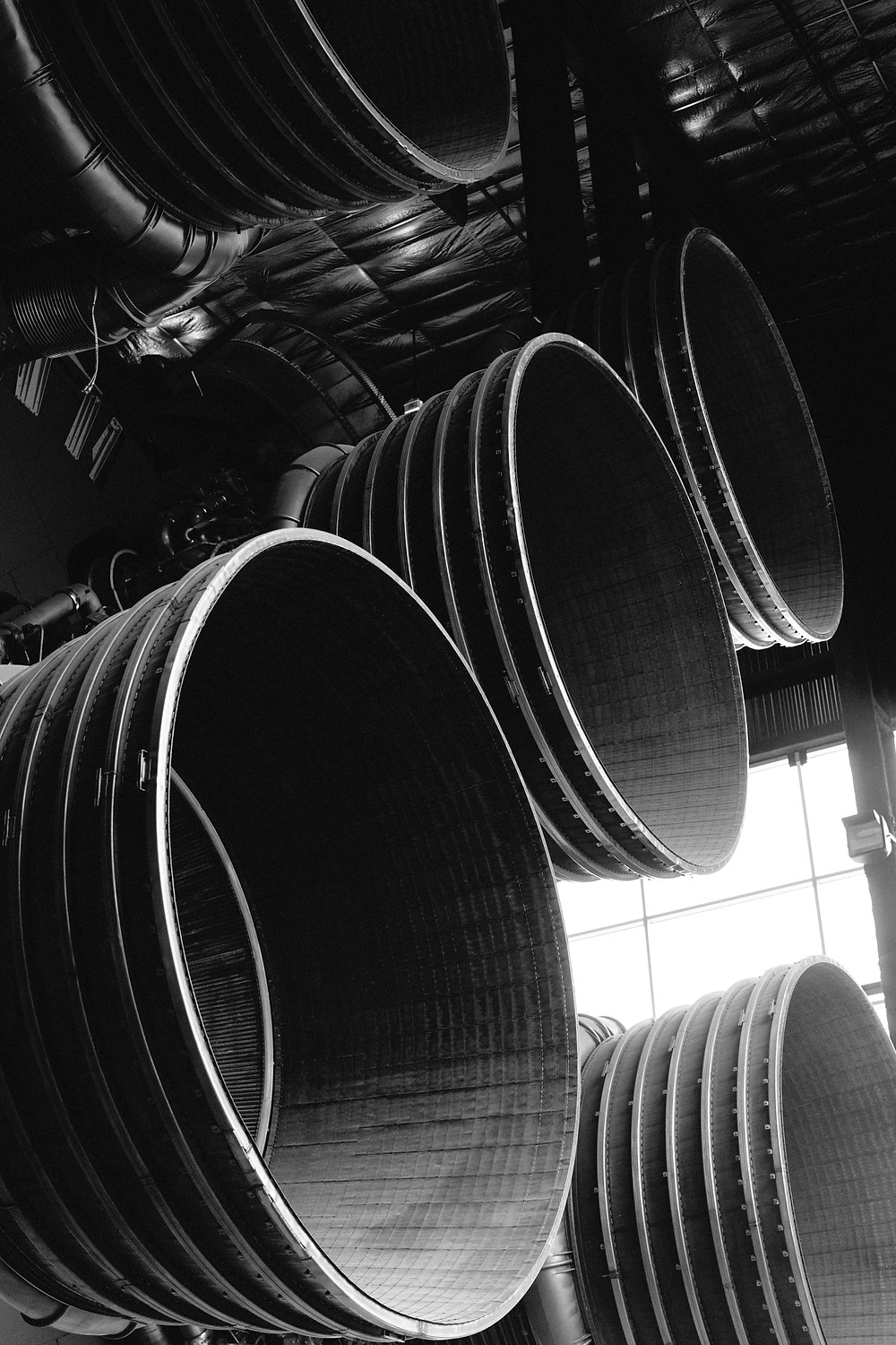 Close up of the Saturn V's engines, filling the frame