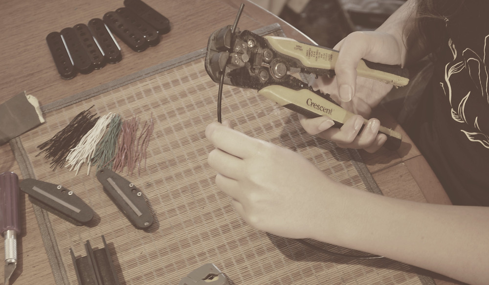 Cutting wires for pickups.
