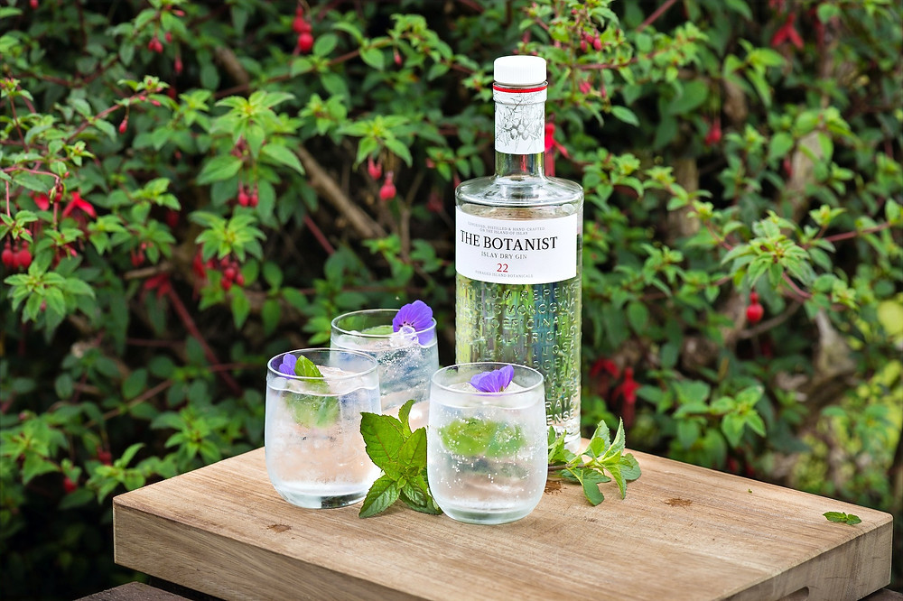 A bottle of The Botanist gin on a table with three glasses of gin and botanicals