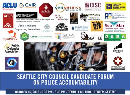 Police Accountability Forum - Wednesday Oct. 16th