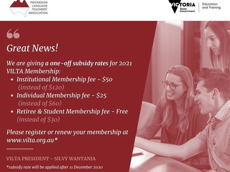 One-off Subsidy rates for 2021 Membership!