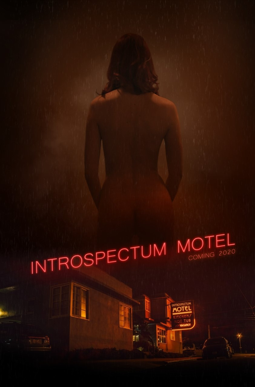 Poster for Introspectum Motel showing motel and character.