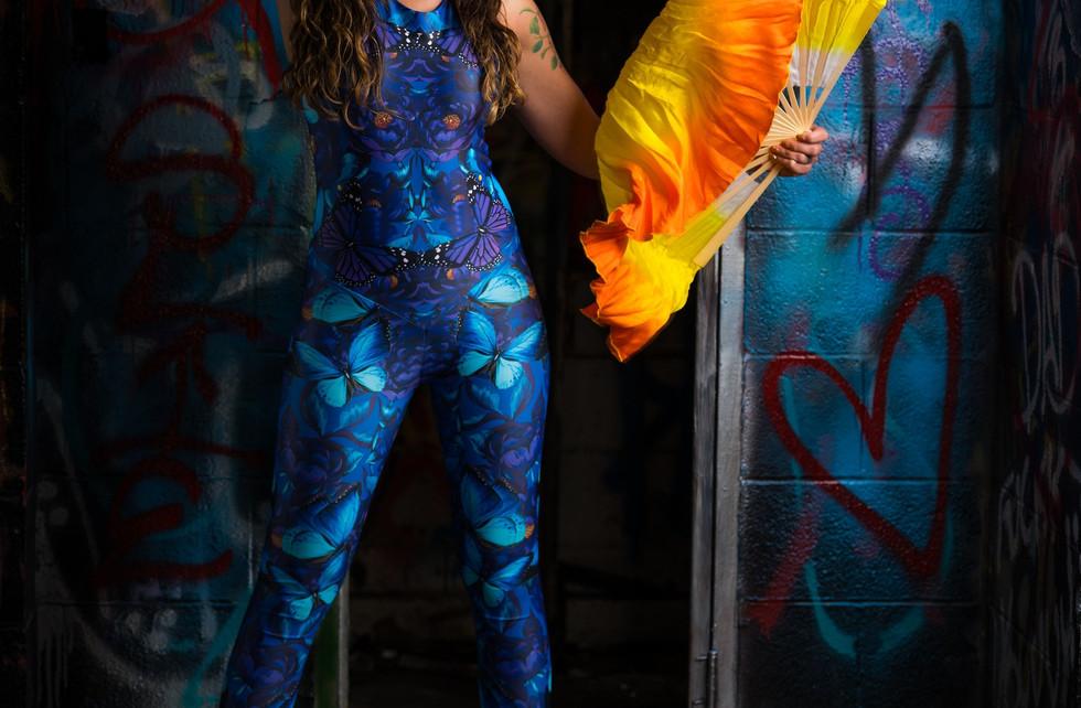 Silk Fan Veil EDM Bodysuit