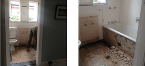 Demolition of old 20th century bathroom in Chatswood, NSW Australia