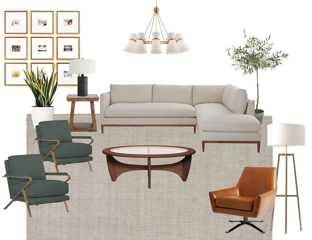 modern California casual living room design style board
