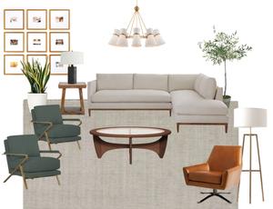 modern California casual living room design style board