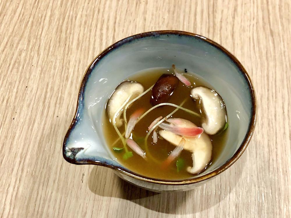 Japanese broth made of shiitake, kombu, root vegetables and tofu