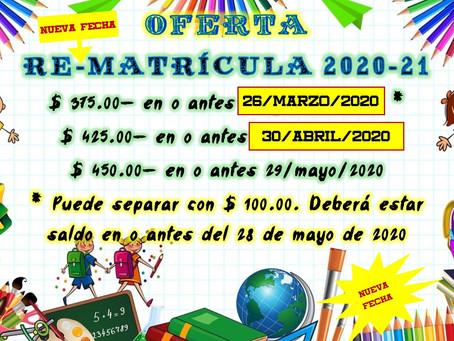 Oferta de Re-matrícula 2020-2021