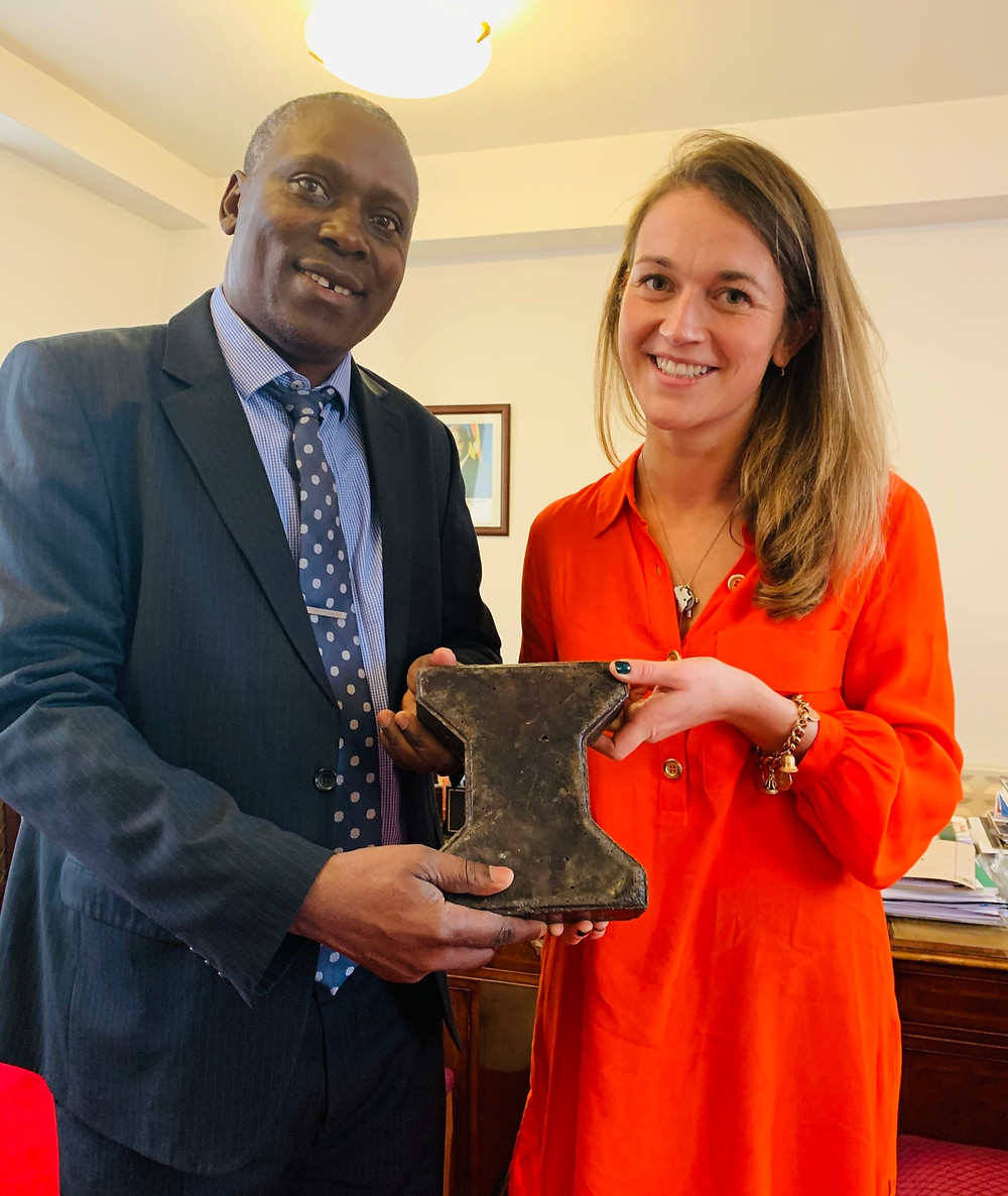 Gee Elliott, our founder and Chair, meets H.E Ambassador Moto in London, showing him the Eco Brix