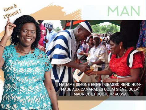MADAME SIMONE EHIVET GBAGBO REND HOMMAGE AUX CAMARADES OULAÏ SIÉNÉ, OULAÏ MAURICE ET DOCTEUR KOSSA.
