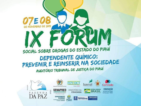 IX Fórum Social Sobre Drogas será realizado no Piauí