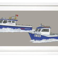 Fishing boat portrait in gouache