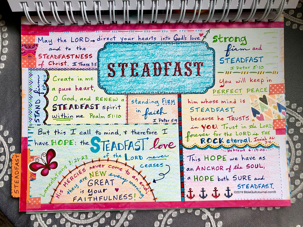 Steadfast #biblequiltjournal page on TITLE template