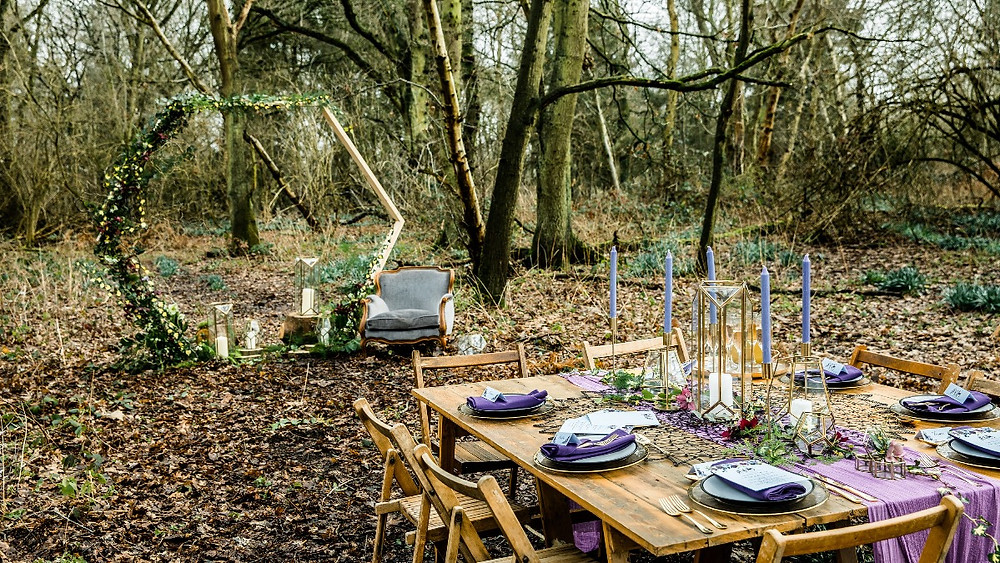 Woodland Wedding Styled Shoot Showing The Power Of Purple