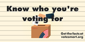 """Image of a hand placing a ballot in a box with the text """"Know who you're voting for"""" superimposed over it."""