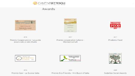 SETTESOLI borai minőségéről számos jeles díj tanúskodik – pl.a 'Premio Sodalitas' a környzezet támogatásáért társadalmi felelősségvállalási projektekkel. 'Tre Bicchieri' amit a Gambero Rosso, a borokat és  ételeket méltató szaklap  adott át nekik a Mandrarossa Carthago és a Timperosse borukért.