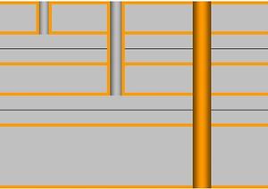 Пример структуры 6-слойной печатной платы с 3 видами отверстий.