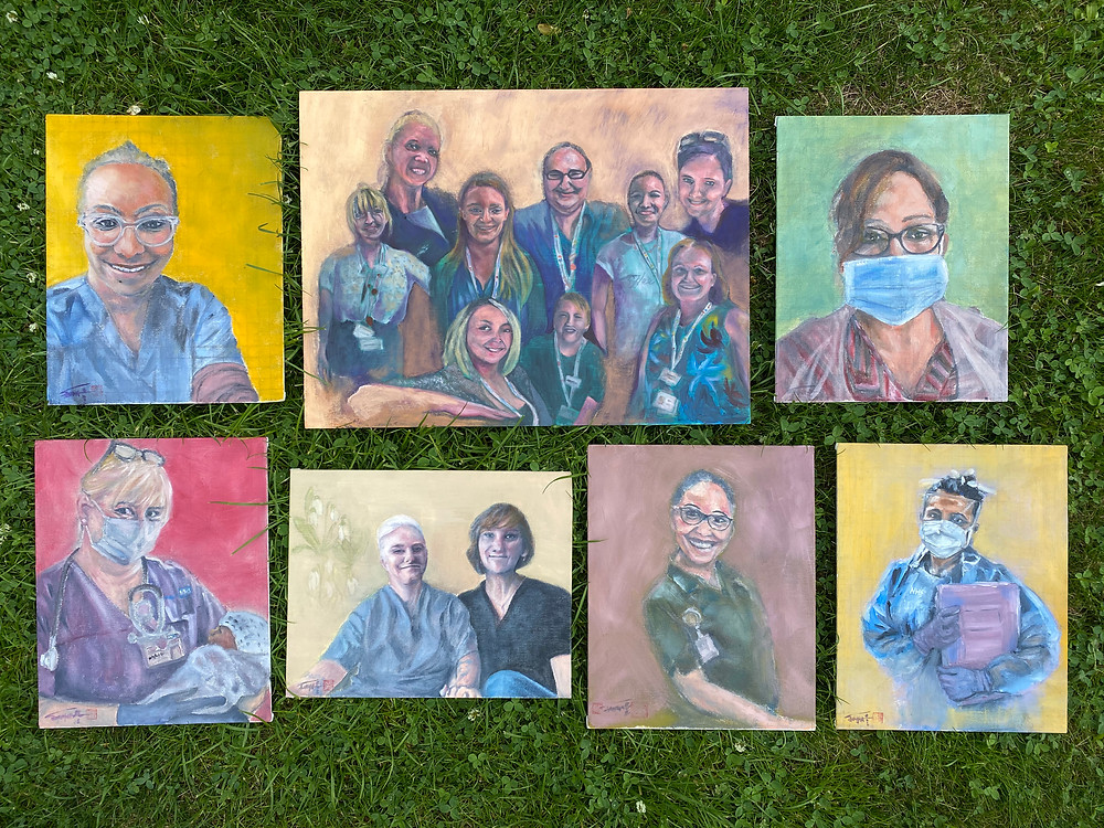 A collage with healthcare workers