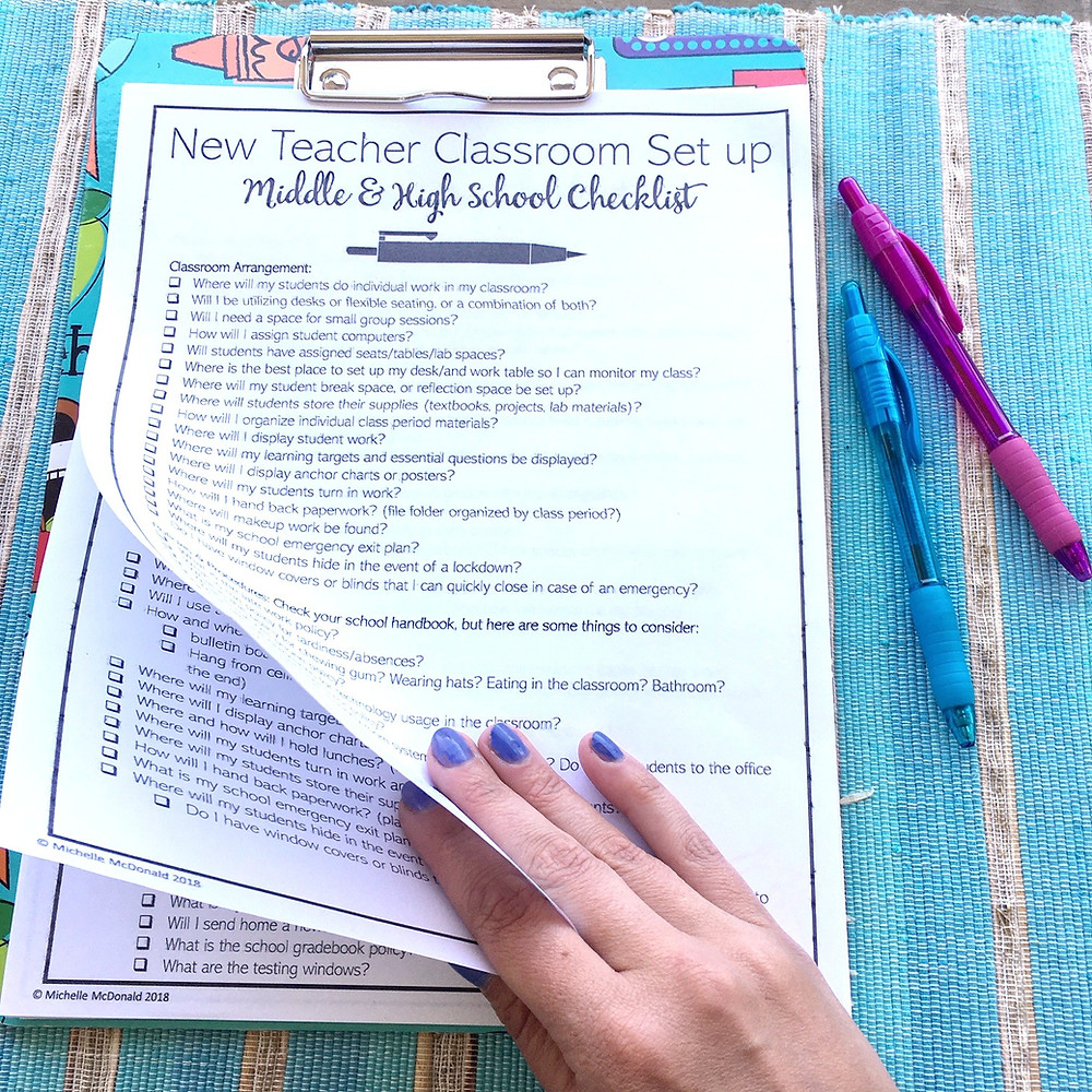 Back to School New Teacher Essentials Checklists