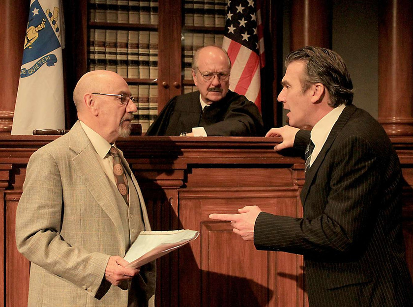 Concannon (Christopher Ettridge) and Galvin (Ian Kelsey) argue a point before Judge Sweeney (Richard Walsh)