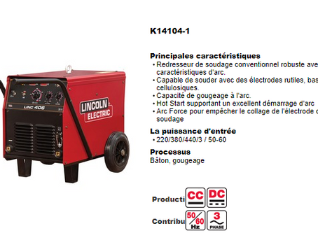 Livraison de postes à Souder Lincon Electric
