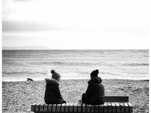 A beach. A bench. A conversation. And a dog.
