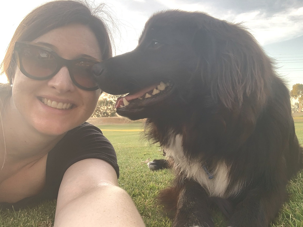 Emily and her dog Scout at the park