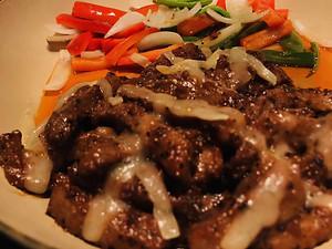 Venison stir fried with black pepper
