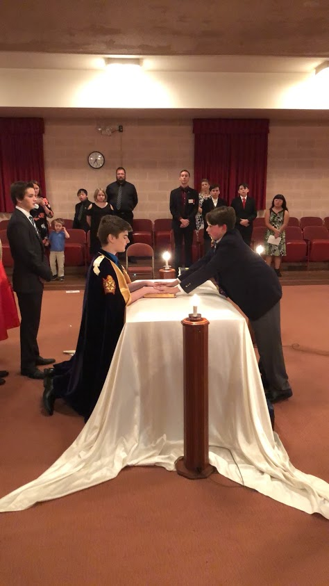 Brother Mitchell Pennington being installed by Brother Quentin Hoglund