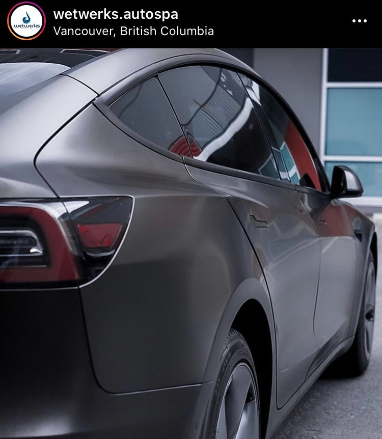 wetwerks auto spa instagram page link, photo of a vinyl wrapped tesla model 3