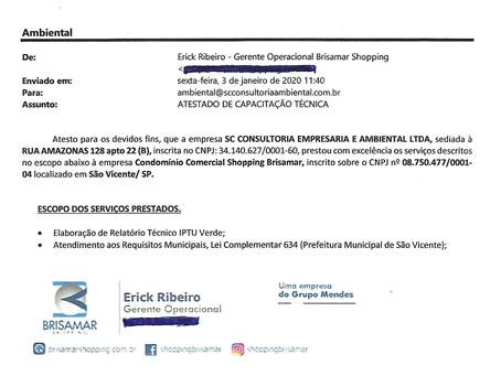 Atestado de Capacidade Técnica_Brisamar Shopping_Projeto IPTU VERDE_Prefeitura de São Vicente
