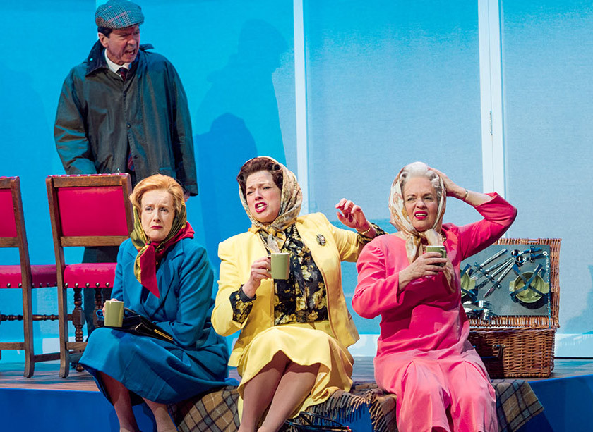 The main cast of Handbagged at Oldham Coliseum