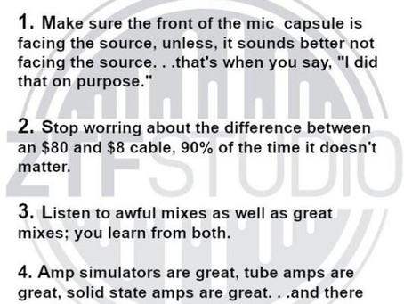 Recording Advice #2 from Zach of ZTF Studio (ztfstudio.com)