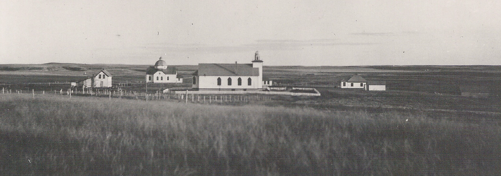 image showing the hamlet once known as Ukraina, North Dakota.  It shows Saint Demetrius Ukrainian Catholic Church and Saints Peter & Paul Ukrainian Orthodox Church