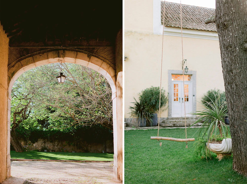 The patio garden when you enter the Quinta do Torneiro wedding venue in Portugal