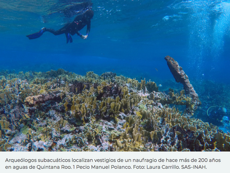 Localizan naufragio en costas de Quintana Roo