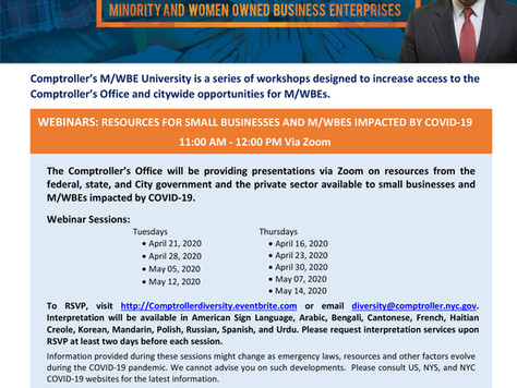 NYC Comptroller's MWBE(Minority/Women-owned Business Enterprises) University