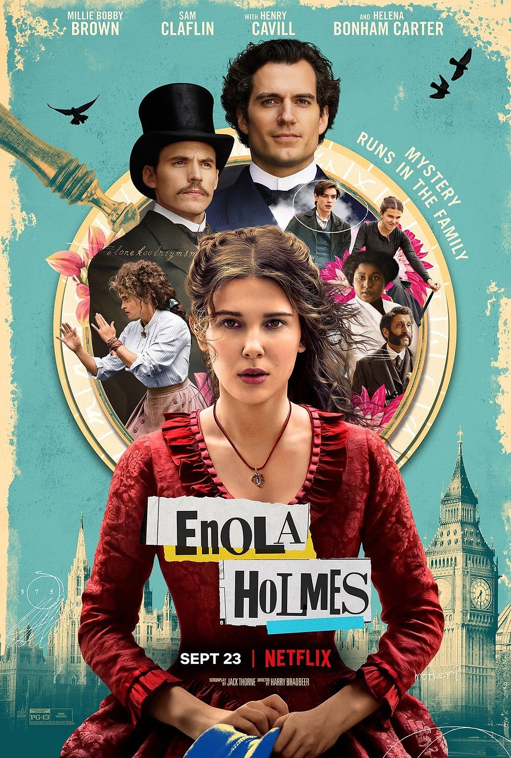 The poster for Enola Holmes shows eight of our main characters, with Enola primary among them, gazing forward against an eggshell-blue background with the golden design of a magnifying-glass silhouetted in the background.