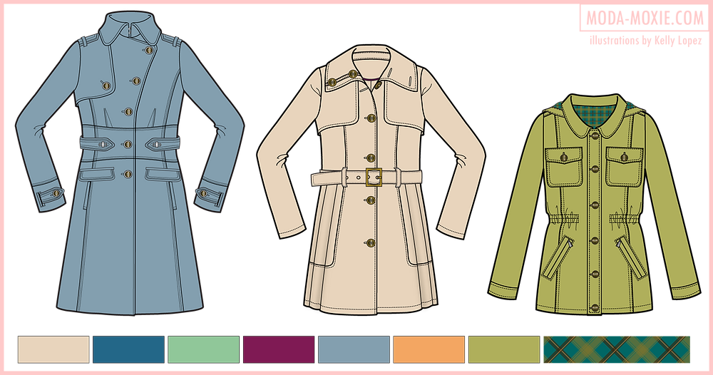 fashion CAD sketches of coats
