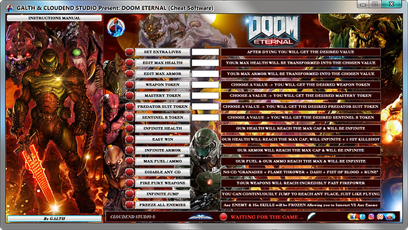 DOOM ETERNAL, CLOUDEND STUDIO, Steam, Bethesda.net, Cheats, Trainer, Mod, Code, Cheat Engine,