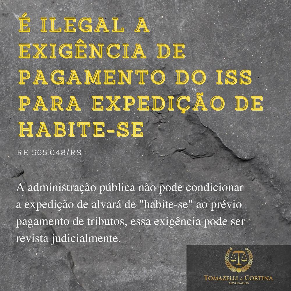 ilegal exigência pagamento iss liberação habite-se