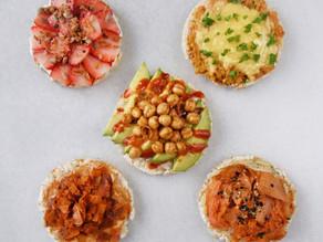 Easy 5 Min Healthy Breakfast & Snack Recipes: 5 Vegan Toast Ideas using Rice Crackers | Delia.v Life