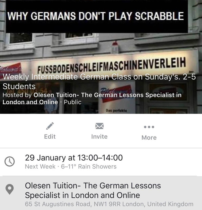 Improve your German with my small group Weeknight and Weekend German classes
