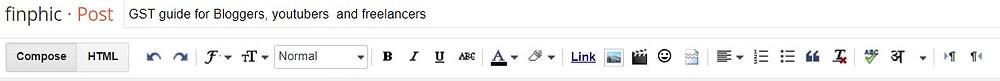 Blogger Text Editing Toolbar