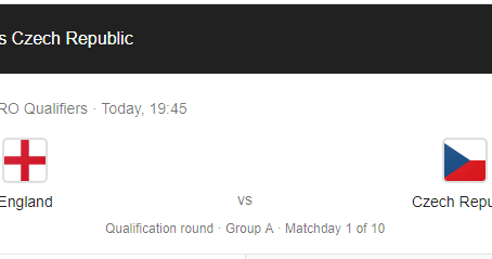 Watch England v Czech Republic at the Clubhouse tonight. Kick off 19:45.